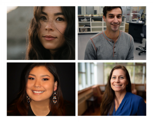 A collage featuring headshot photos of the 2020 National Student Bursary Program Winners. From left to right, the top images are of Chantai Minet and Mitchell Maracle. From left to right, the bottom images are of Destiny Bird and Kate Dunn